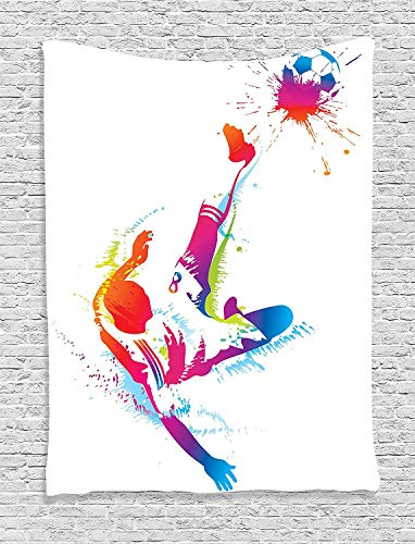 THndjsh Sports Decor Tapestry Wall Hanging, Soccer Man Kicks the Ball in the Air Digital Watercolors Success Energy Feet Illustration, Bedroom Living Room Dorm Decor, 60 W x 80 L Inches, Multi by THndjsh