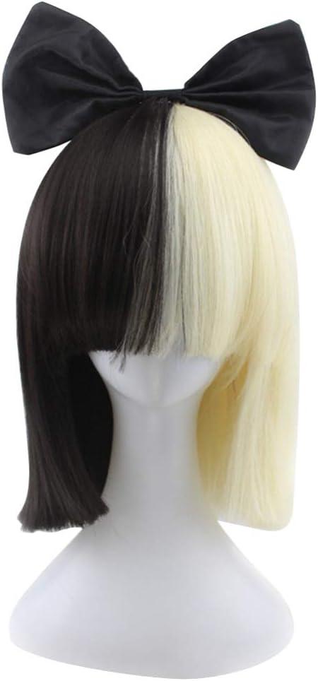 Peluca Minkissy media negra y blanca, peluca larga recta para cosplay con un moño mitad de color peluca con flequillo para mujer: Amazon.es: Belleza