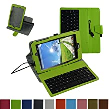 """Acer Iconia One 8 B1-810 / Tab 8 A1-850 USB Keyboard Case,Mama Mouth Rotary Stand PU Leather Cover With Removable Micro USB Keyboard for 8"""" Acer Iconia One 8 B1-810 / A1-850-13FQ Tablet,Green"""