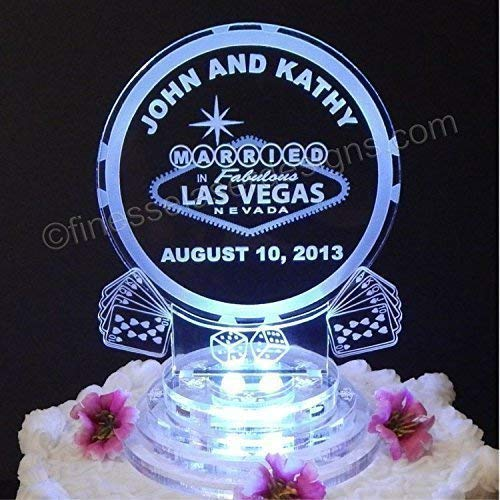 Las Vegas Lighted Wedding Cake Topper Acrylic Cake Top Personalized