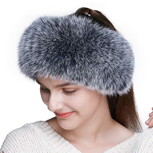 (ENJOYFUR Women Headband Fox Fur Headband Winter Earwarmer Earmuff (Gray))
