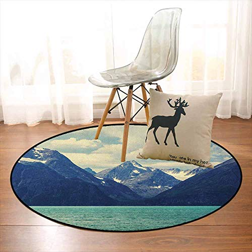 Mountain Better Protection Northern Norway Atlantic Coastline Fishing Harbor Snowy Nature Kid Game Carpet D35.4 Inch Dark Blue Almond Green White (Coastline Atlantic Memories)