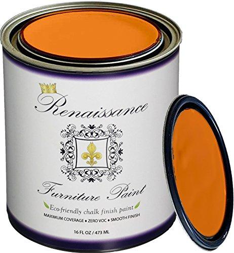 Renaissance Chalk Finish Paint - Pumpkin - Pint (16oz) - Chalk Furniture & Cabinet Paint - Non Toxic, Eco-Friendly (Pumpkin Paint)