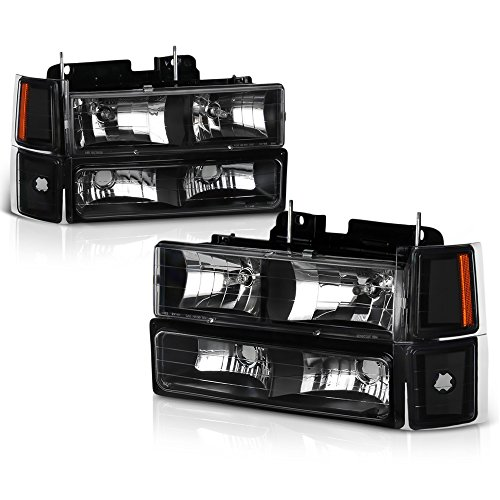 VIPMotoZ 1994-1998 Chevrolet C/K 1500 2500 3500 Pickup Suburban Tahoe Headlights - Matte Black Housing, Driver and Passenger Side