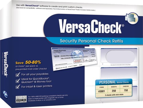 VersaCheck Security Personal Check Refills: Form #3001 Personal Wallet - Blue - Premium - 250 Sheets ()