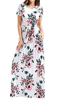 Wollsolo Women's Floral Print High Waist Short Sleeve Crew Neck Maxi Dress for Party Beach