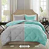 Comfort Spaces – Vixie Reversible Goose Down Alternative Comforter Mini Set - 3 Piece – Aqua and Grey – Stitched Geometrical Pattern – Full/Queen Size, Includes 1 Comforter, 2 Shams