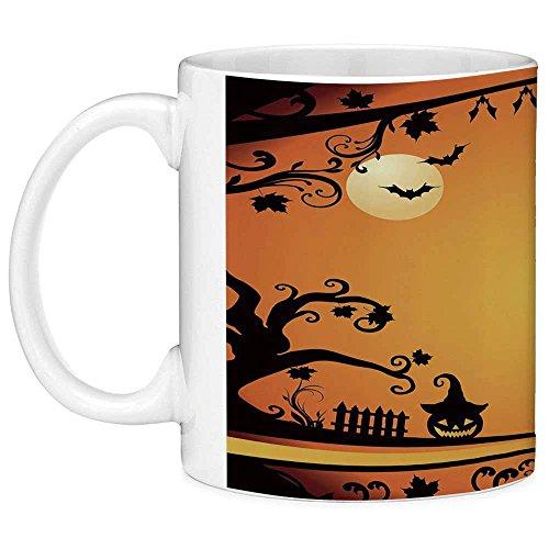 Funny Coffee Mug with Quote Vintage Halloween 11 Ounces Funny Coffee Mug Halloween Themed Image Eerie Atmosphere Gravestone Evil Pumpkin Moon Decorative Orange Black ()