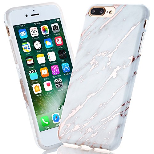 BAISRKE Shiny Rose Gold Beige Marble Design Bumper Matte TPU Soft Rubber Silicone Cover Phone Case Compatible iPhone 7 Plus/iPhone 8 Plus [5.5 inch]