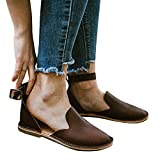 Bbalizko Womens Ankle Buckle Strap Slip On Cut Out Low Heel Closed Toe Summer Flats Shoes