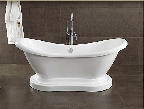 Cambridge Plumbing Inc ADES-PED-150-PKG-BN-NH Acrylic Double Ended Pedestal Slipper Bathtub 68 x 28 in. with No Faucet Drillings and Complete Brushed Nickel Plumbing Package
