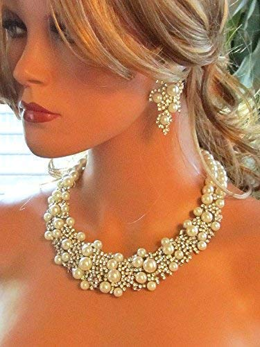 Vintage Inspired Silver Ivory Pearl and Crystal Cluster Necklace Earrings Wedding Jewelry -