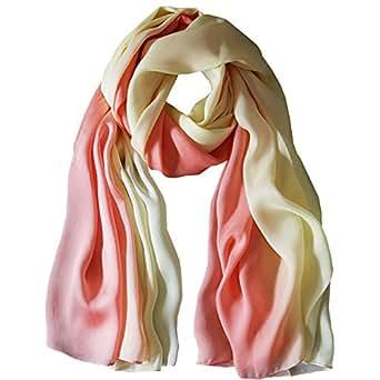K-ELeven Silk Scarf Gradient Colors Scarves Long Lightweight Sunscreen Shawls for Women SK073-B
