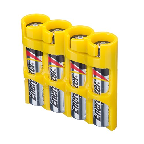 Storacell by Powerpax SlimLine AAA Battery Caddy, Yellow, Holds 4 Batteries by Storacell