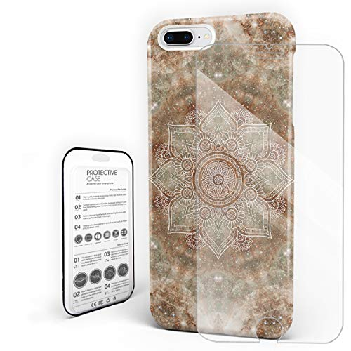 Compatible with iPhone 7 Plus Case and iPhone 8 Plus Case, Hard PC Back Phone Case with Tempered Glass Screen Protector Bejeweled Marble Mandala Flower Pattern Shockproof Cover ()