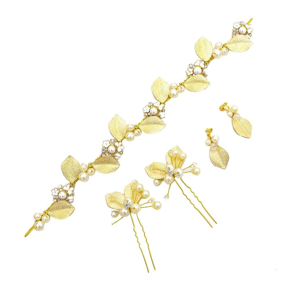 BCDshop_hairband clearance Women Crystal Leaf Flower Pearl Headpieces Hair Vine Halo Hair Pin Earing for Wedding Party (Gold) by BCDshop_hairband clearance