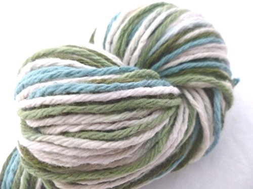 4 Ply Heavy Worsted Weight 100% Cotton Space Dyed White, Olive, Forest Green Yarn