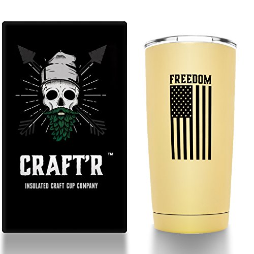 Craftr Insulated Beer Cup - FREEDOM EDITION, Stainless Steel Vacuum Insulated Tumbler - Holds Your Beer at the Perfect Tasting Temperature (Matte Sandstone)