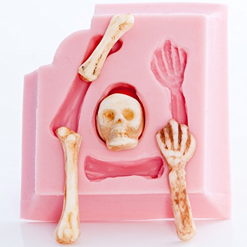 Small Skeleton Skull Silicone Mold Food Safe Fondant, Chocolate, Candy, Resin, Polymer Clay Mold. Flexible easy to use.]()