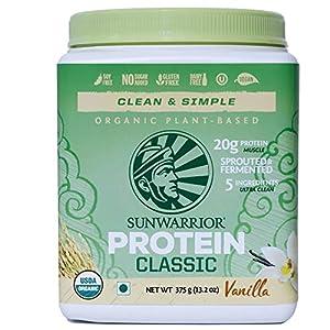 Sunwarrior Classic Protein 375 g, Vanilla, Vegan, Gluten Free, Plant-Based Protein Powder