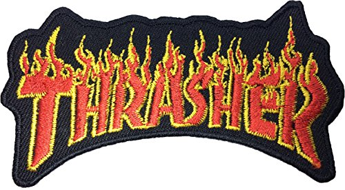 [THRASHER Flames Logo Iron Sew On Skater Punk Embroidered Patch 9 x 5cm] (Settlers Of Catan Costumes)