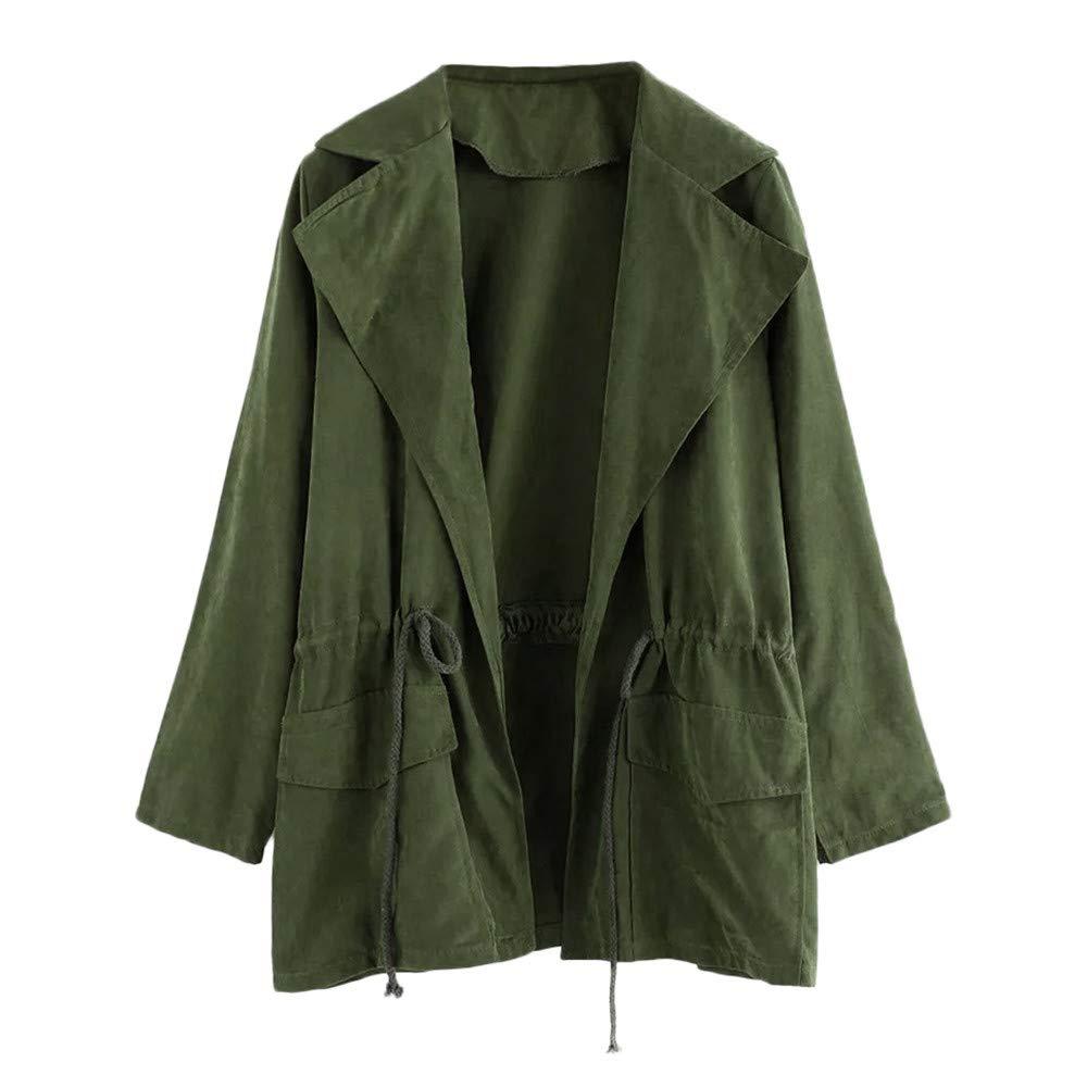 Pervobs Women Casual Windbreaker Jacket Long Sleeve Parka Pockets Cardigan Thin Coat