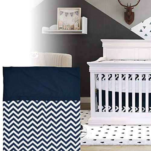 BOOBEYEH & DESIGN 5PCS Bedding for Baby - Zigzag Pattern, Navy Blue and White