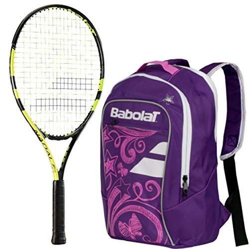 Babolat Nadal Junior 25'' Tennis Racquet (Yellow/Black) bundled with Girl's Club Tennis Backpack (Purple) by Babolat