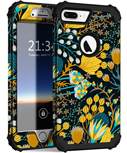 (iPhone 8 Plus Case, iPhone 7 Plus Case, Hocase Heavy Duty Shockproof Protection Hard Plastic+Silicone Rubber Hybrid Protective Case for iPhone 7 Plus/iPhone 8 Plus - Yellow Flower Blossoms)