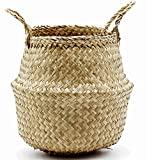 Natural Craft Foldable Seagrass Belly Basket Storage, Nursery, Laundry, Tote Picnic Woven Straw Beach Bag - Plant Pots Cover Indoor Decorative