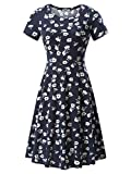 HUHOT Women Short Sleeve Round Neck Summer Casual Flared Midi Dress (Small, Floral-34)