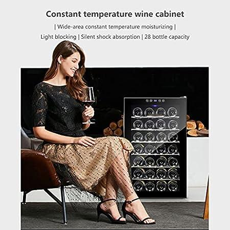 SHENXINCI Nevera para Vinos Nevera para Bebidas Refrigerador/Iluminación LED, Módulo Independiente, Silencioso, Rango De Control De Temperatura: 12-18 ℃,28 Botellas, 7 Baldas, 70 L, Negro