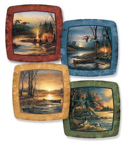(Camping Scenes Square Mini Collector Plates by Terry Redlin )