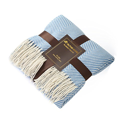 ALPHA HOME Woven Throw Blanket Light Blue Chevron Blanket with Fringe for Couch Chair Bed Picnic Camping Travel - 50