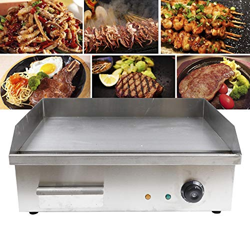 """ZHFEISY Electric Griddle - 3000W Non-Stick Commercial/Home Kitchen BBQ Electric Grill Teppanyaki Hot Plate with Drip Tray & Temperature Control for Indoor/Outdoor 22""""X18""""?CE Certification?"""