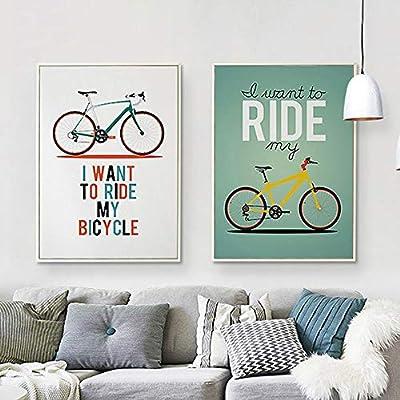 Pintura al óleo sobre lienzo para bicicleta, pintada a mano, arte ...