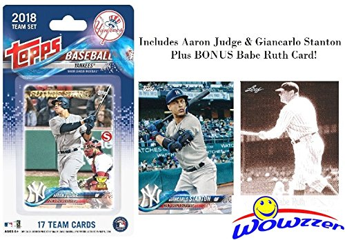 New York Yankees 2018 Topps Baseball EXCLUSIVE Special Limited Edition 17 Card Complete Team Set with AARON JUDGE, GIANCARLO STANTON,Gary Sanchez, Frazier RC & More Plus BONUS BABE RUTH Card! WOWZZER! (Team Set Topps Mlb)