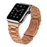Apple Watch Band ,Creazy Stainless Steel Strap Watch Band+Adapter+Case Cover for Apple Watch 38mm (Rose Gold)