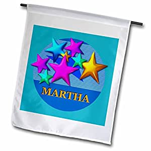 SmudgeArt Female Child Name Designs - Vibrant colored stars on a blue background personalized with the name MARTHA - 12 x 18 inch Garden Flag (fl_52940_1)