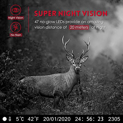 【New Version】 BZK Trail Game Camera- Waterproof Hunting Scouting Cam 16MP 1080P with Night Vision, 120 Degree Wide Angle…