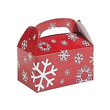 Fun Express Paper Red And White Snowflake Treat Boxes - (1 Dozen) Boxes