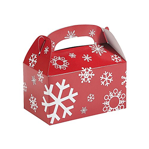 Paper Red And White Snowflake Treat Boxes - (1 Dozen) Christmas Gift (Holiday Treat Boxes)