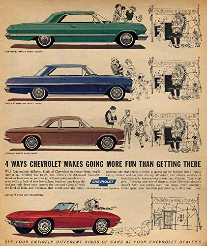 (4 ways Chevrolet makes going more fun Corvette Impala Chevy II Corvair ad 1963 F )