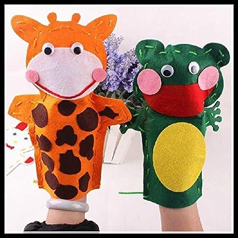 changshuo Felpa Marioneta 5pcs DIY Que Dice Los Juguetes Educativos De La Rana De La Vaca Animal para La Entrega Al Azar del Jardín De La Infancia