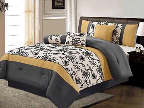 7 piece luxury yellow black white grey floral comforter set queen size bedding home garden. Black Bedroom Furniture Sets. Home Design Ideas