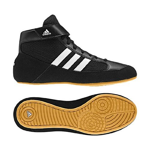 Price comparison product image Adidas Wrestling HVC Youth Laced Wrestling Shoe (Toddler/Little Kid/Big Kid),Black/White/Gum,1 M US Little Kid