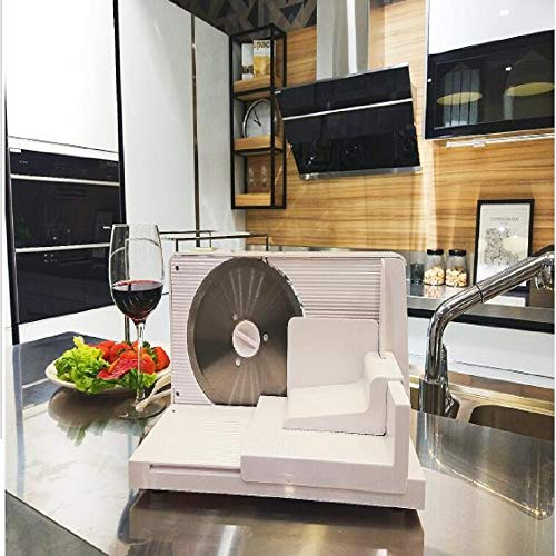 Meat Slicer Household 150W Electric Slicer Fruit Meat Cutting Machine Lamb Roll Beef Meat Cutter Automatic Food Cutting Machine (EU Plug)