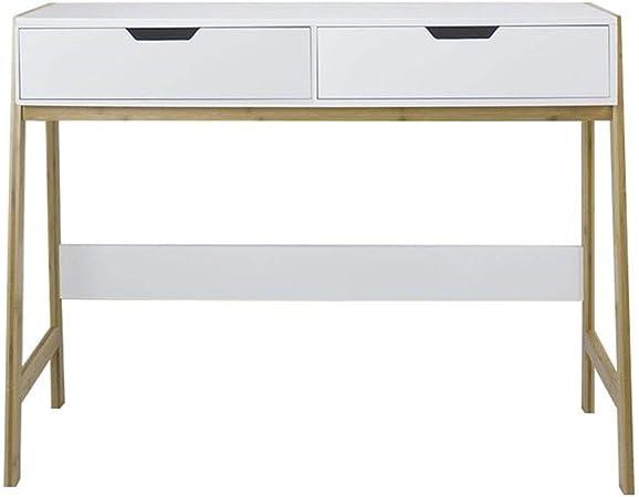 Hogar Deco Table Console Bois Blanc 2 Tiroirs 90 Cm