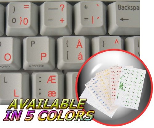 4Keyboard Danish Keyboard Stickers with RED Lettering ON Transparent Background ()