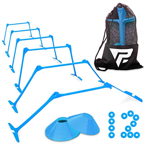 Pro Adjustable Hurdles and Cone Set - 6 Agility Hurdles (6
